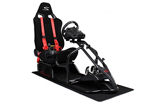 Speedmaster S Rennsitz Schwarz - Short Floss Fabric Schwarz - Gameseat - Simracing