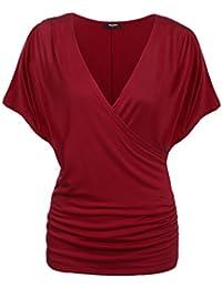 Zeagoo Damen V-Ausschnitt T-Shirt Kurzarm Batwing Fledermaus Sommer Shirt  Tunika Bluse bd6c299045