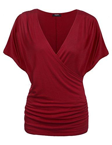 Zeagoo Damen V-Ausschnitt T-shirt Kurzarm Batwing Fledermaus Sommer Shirt Tunika Bluse(EU...