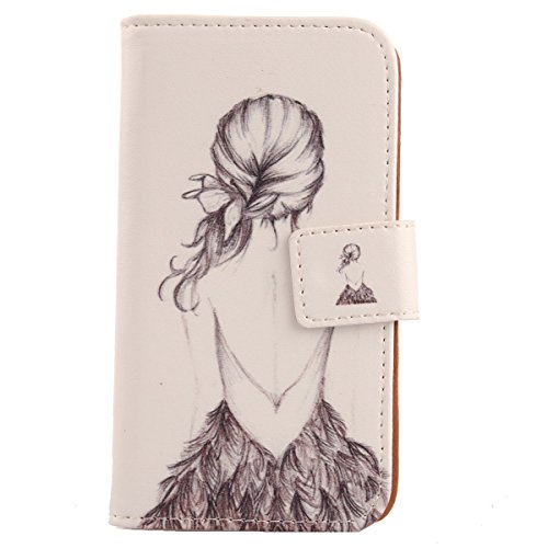 Lankashi PU Etui Case Flip Housse Cuir Cover Couque Protection Pour Yezz Andy 4E LTE Back Girl Design