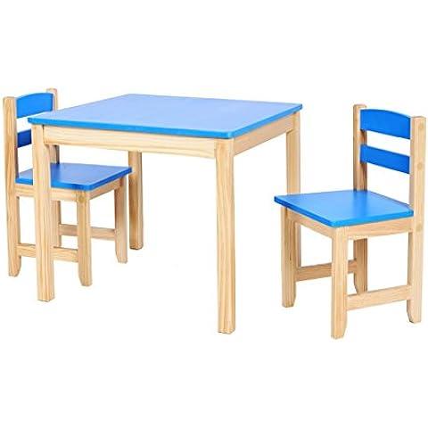 ts-ideen Juego de mesa y dos sillas para niños azul