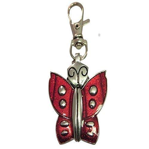 Plaque de porte personnalisée Papillon rouge Porte-clés avec montre dans étui en velours-Noir-Réf k2rk