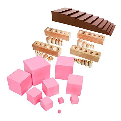 Dolity Material de Montessori: Torre de Madera Rosa con Bolas Escaleras y Bloques de Cilindro, Juguete Educativo de Nños