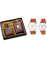 Arum Special Couple Combo In Brown Leather Brown Women's Wallet, Men's Wallet ,Key Chain & Brown Leather Watch