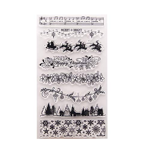 BESTOYARD Silikonstempel Set Weihnachten Schneeflocken Rentier Muster Transparente Briefmarke DIY Handwerk Scrapbooking Dekorieren