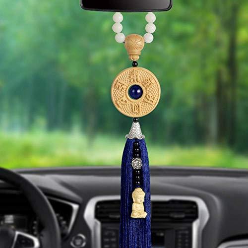 XIEJUN Autoanhänger Autoanhänger Buchsbaum Carving Skulptur Achat Bodhi Samen Quaste buddhistisches Auto Rückspiegel Ornamente Zubehör blau -