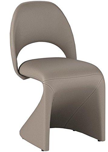 CAVADORE Schwingstuhl 2-er Set LOGAN / 2x gepolsterte Esszimmerstühle in modernem Design / Bezug Kunstleder beige / schlamm Farbe / 52 x 89 x 55 cm (B x H x T) - 8
