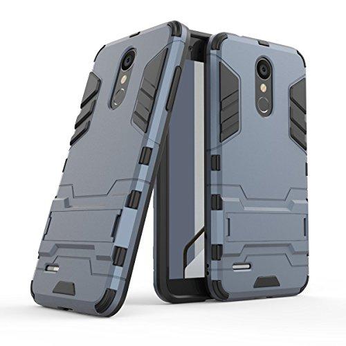 HDRUN LG K9 / LG K8 2018 Hülle, 2 In1 Kratzfeste Handyhülle Hybrid TPU Silikon Bumper Schale PC Doppelschichter Schutzhülle Standfunktion für LG K8 2018 Case Cover, Dunkelblau