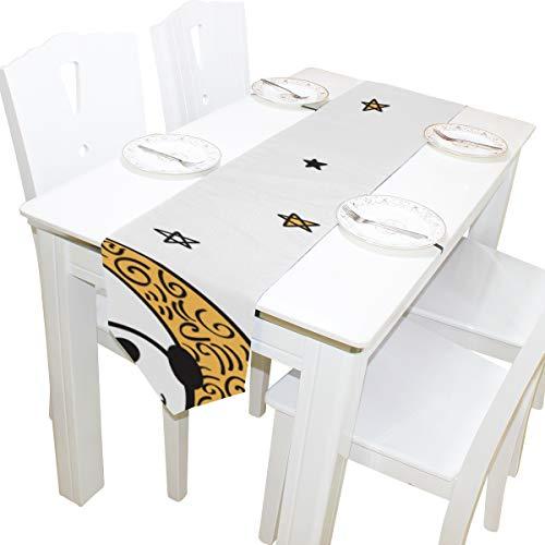 Yushg Panda Schlafen Auf Mond Kommode Schal Tuch Abdeckung Tischläufer Tischdecke Tischset Küche Esszimmer Wohnzimmer Home Hochzeitsbankett Decor Indoor 13x90 Zoll