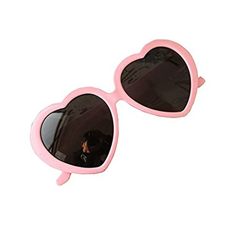 Flyyfree Fashion Cute Oversized Heart-Shaped Plastic Frame Retro Sunglasses Eyeglasses(Pink)