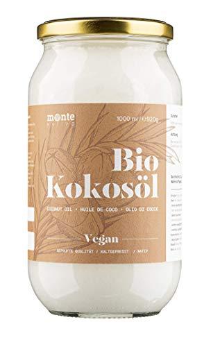 MonteNativo Bio Kokosöl - 1000ml (1 Liter) - Bio Kokosfett, Bio Kokosnussöl, Premium, Nativ und Naturrein, 1. Kaltpressung, Rohkostqualität - zum Kochen, Braten und Backen, für Haare und Haut
