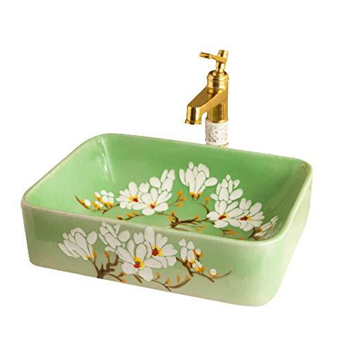 Square Pedestal Sink (NIGHT WALL Square Bathroom sinkvanity Ceramics Flowers Glassware Bathroom Sink only, Green Pedestal Sink)