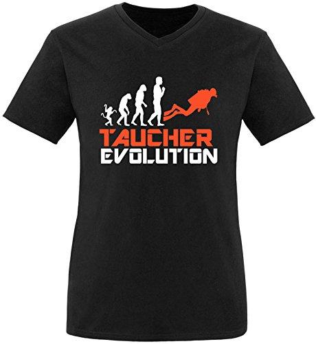 EZYshirt® Taucher Evolution Herren V-Neck T-Shirt Schwarz/Weiss/Orange