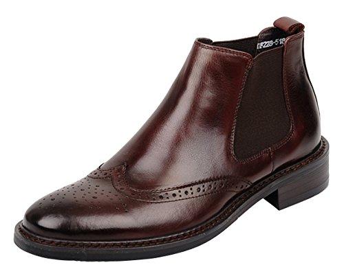WOUFO boots homme Cuir supérieur Tête ronde Sculpture-style BAROQUE STYLE Marron
