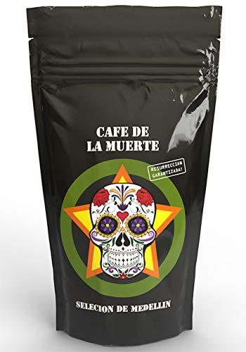 Cafe de la muerte | Selecion de Medellin | Starker Kaffee Starkes Design Tolles Geschenk| Ganze Bohnen Trommelröstung | Mit toller Karte