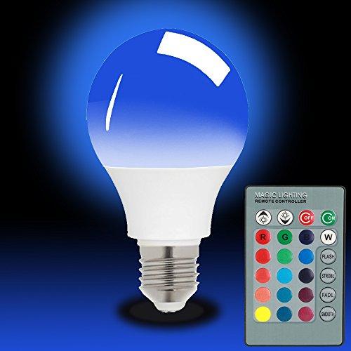 magicmoon E2715W LED RGB Lampe 16Farben Farbwechsel dimmbar Multi Farbe LED Licht mit IR-Fernbedienung 360° Abstrahlwinkel LED Lampe 85–265V für Home Dekoration/Bar/Party/BARM Beleuchtung