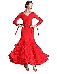 Bambine e ragazze Xueyanwei Moderna Signora Grande Pendolo Una Parola Spalla Moderna Danza Abito Tango E Valzer Ballo Abito Danza Concorrenza Gonna Net Filato Vestito Dancing Costume
