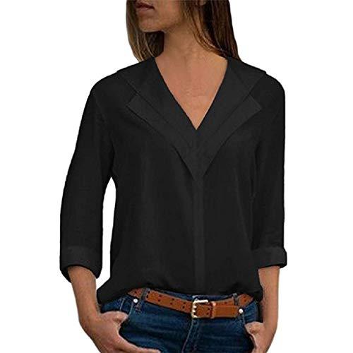 OMYGOA ❤Frauen Essentials Sommer Mode Frauen Chiffon einfarbig T-Shirt Büro Roll Sleeve Joker Shirt Top(Schwarz,Small) -