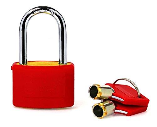 Vorhängeschloss mit Rundschlüssel für Spind / Schloss mit langem Bügel / Hochsicherheits-Schlösser für Fitnesscenter- oder Schulspinde, Gepäck oder Koffer / Verschiedene Farben / Vorhängeschlösser für Spinde mit Hochbügel (Rot)