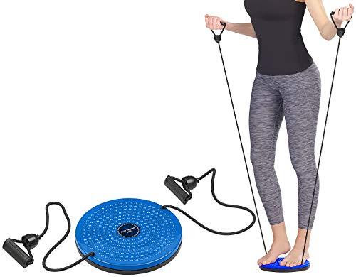 PEARL Sports Wackelbrett: Fitness Twisting Disk mit Expander für Bauch, Taille & Arme, Ø 24,5 cm (Fitness-Drehscheiben effektiv) (Fitness-studio Twister)