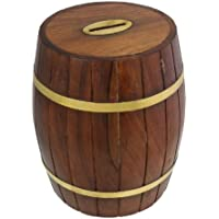 RoyaltyRoute Handmade Wooden Money Box Safe Barrel Shaped Piggy Bank Coin Storage Box