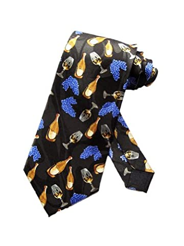 Parquet Mens Wine Bottles and Glasses Necktie- Black- One Size Neck Tie