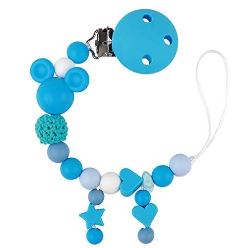 Schnullerkette Junge Schnuller Clip Silikon Perlen Beißring Zahnen BPA Frei für Babys (Blau)