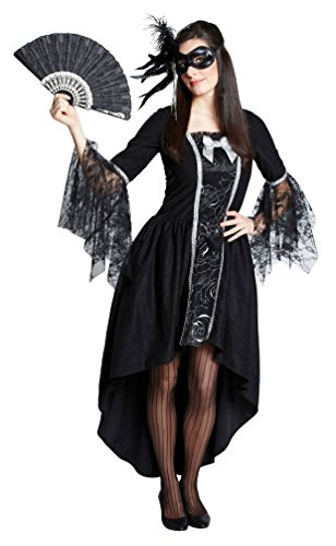 Karneval-Klamotten Viktorianisches Kostüm Damen Barock Kostüm Renaissance Damen-Kostüm schwarz Silber lang Größe - Maskenball Kostüm