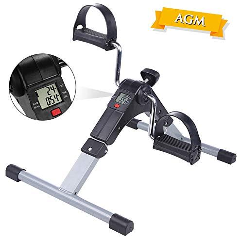 AGM Pedales Estaticos, Mini Bicicleta Estática, Pedaleador Plegable LCD Pantalla, Máquinas de Piernas para Entrenamiento de Brazos y Piernas Resistencia Ajustable