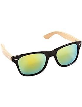 ECENCE Gafas de Sol de Madera de bambú Mujer Hombre Unisex Gafas Retro en Tendencia Negro Verde 22030303