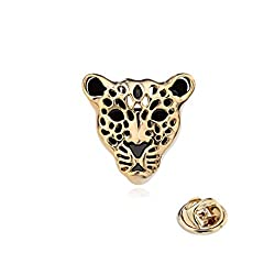 Imported 1pc Leopard Head Mens Shirt Collar Tip Stud Clip Lapel Pin Badge Brooch Gold