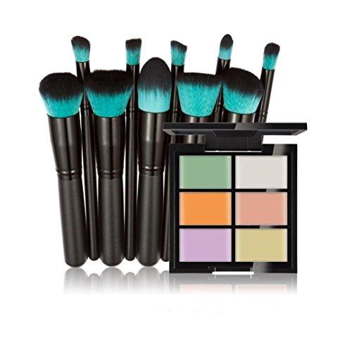ESAILQ 10PCS Pinceau de maquillage +Concealer Maquillage Caches Primer Face Correcteur Professionnel Teint Eyebrow Shadow Makeup Blush Kit Pinceau Ensemble brosse à maquillage Brosse à maquillage (A)