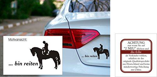 """Autoaufkleber - \""""... bin reiten\"""" - Pferd - Reitsport - verschiedene Farben und Größen (180 mm x 100 mm, M070 Schwarz)"""