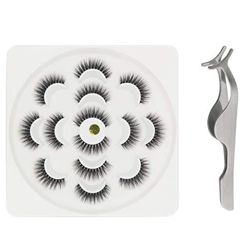 Goosun pestañas postizas 3D 7 pares de pestañas Reutilizable Natural Fluffy Eye Stripe Extensión de pestañas Profesional Ruso Volumen