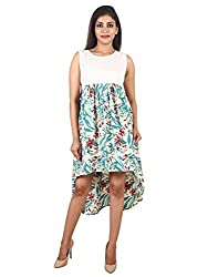 9teenAGAIN Womens Plain & Printed Woven Maternity Dress(White/Green,Extra Large)