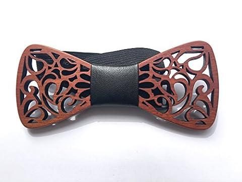 [Garantie à vie] Noeud Papillon en bois fait main arabesque cuir Dakota noir