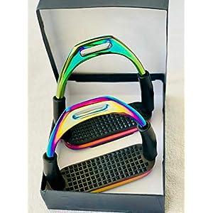 Generisch Steigbügel Rainbow Flexi Stahl – Sicherheitssteigbügel – Größe 12