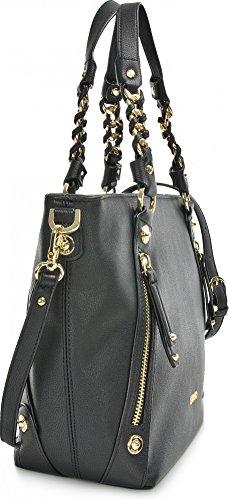 BORSA SPALLA LIUJO NERO shopping con zip lavandalarg 36cm alt 30 cm alt manico 20 cm Black