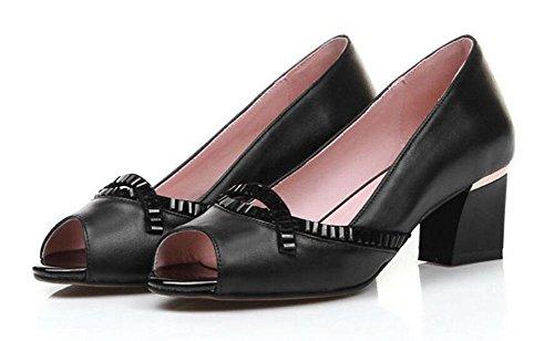 GLTER Donna Peep Toe pompa strass interno al di fuori di tutta la pelle permeabile sandali della bocca poco profonda Black