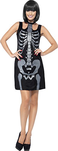 Smiffy's 43649L - Skelett-Kostümes mit Etuikleid und Glitter Knochen (Großbritannien Halloween Kostüm Skelett)