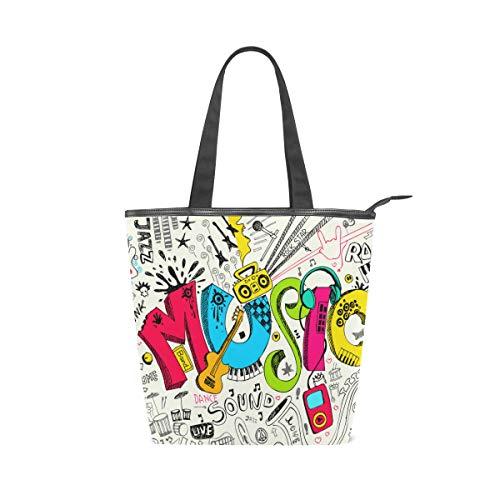 Jeansame bolsa de lona bolsa de la compra bolsa de la compra asa superior bolso de hombro música hippie guitarra sonido