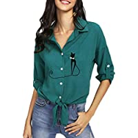 Geili Tshirt Damen,Bluse Frauen Langarm Shirts Damen Top Oberseiten Bestickt Katze verknotet Blusen Mode preisvergleich bei billige-tabletten.eu