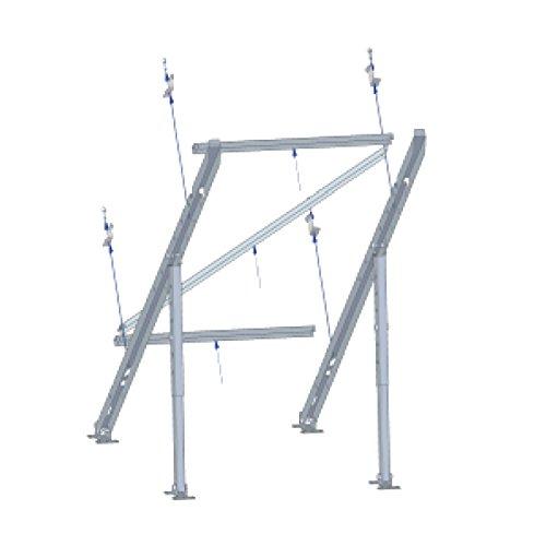 Dimensiones: 1650x985 mm Si desea ampliar el número de paneles, el soporte está diseñado para instalar tantas extensiones como número de paneles desee. Consulte la referencia extensión vertical para panel solar con inclinación ajustable 10º-80º.