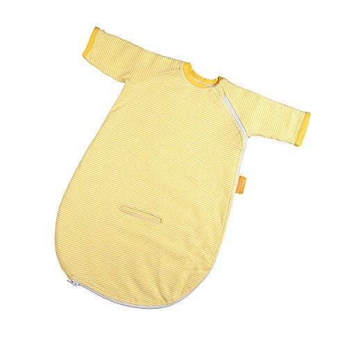 Preisvergleich Produktbild Hoppediz Baby-Schlafsack 56-62 gelb gestreift mit Gurtschlitz