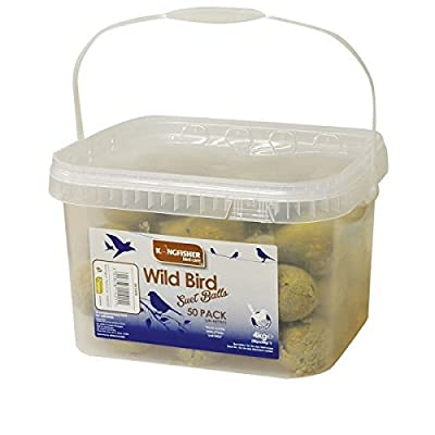 Garden Mile® 50x Fat Suet Balls For All Garden Bird Feeders High Energy Bird Feed (NO NET) Resealable Tub by Garden Mile®
