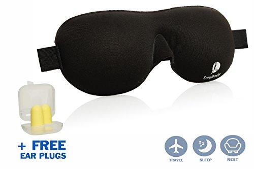SUREBODY Deluxe Augenmaske / Schlafmaske : Weiche und bequeme Schlafbrille für Lichtblockierung; konturierte Form für Männer und Frauen, Reise-Augenbinde für Schönheitsschlaf und komplette Dunkelheit