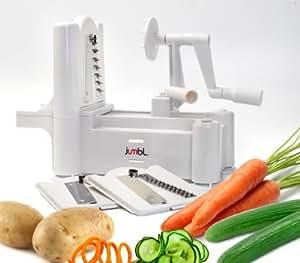 Jumbl™ Gemüse- und Obst- Spiralschneider mit drei Edelstahlklingen - aus lebensmittelverträglichen Kunststoff - Kein Strom erforderlich