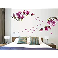 Beautiful Magnolia Flowers Wall Stickers Removable Home Room Decoration Mural