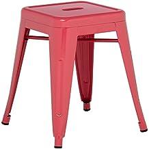 TABURETE BAJO TOLIX - Taburete Industrial Metálico Rojo Frambuesa - (Elige Color) SKLUM