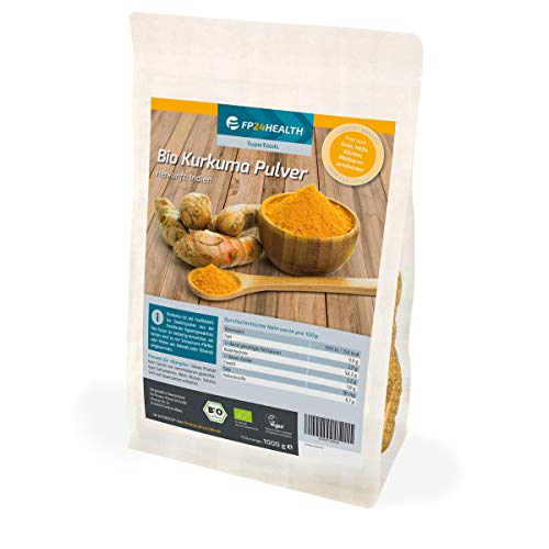 FP24 Health BIO Kurkuma-Pulver 1kg - im Zippbeutel - Curcuma gemahlen mit Curcumin - aus 100% Bio-Anbau - Top Qualität